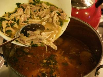 green chicken into pot