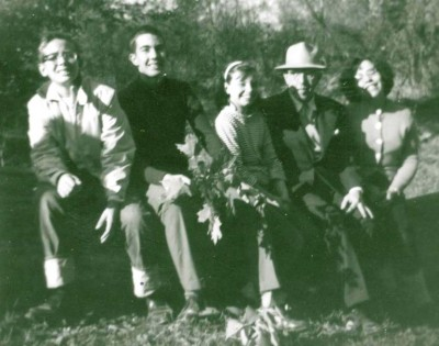 With uncle and cousins, Funks Grove, Illinois, 1963