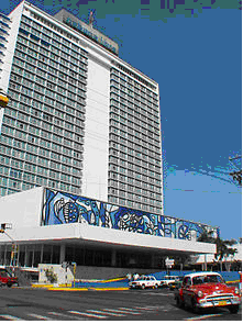 Hotel Habana Hilton and Amelia Peláez mural