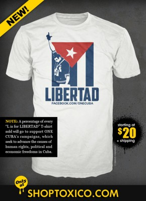 L for Libertad - One Cuba solidarity campaign T-shirt by Emilio Carnero