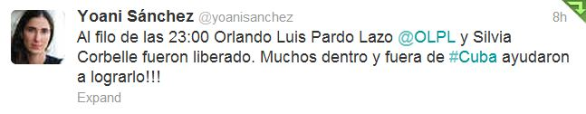 Yoani Sanchez tweets that Orland Pardo is freed