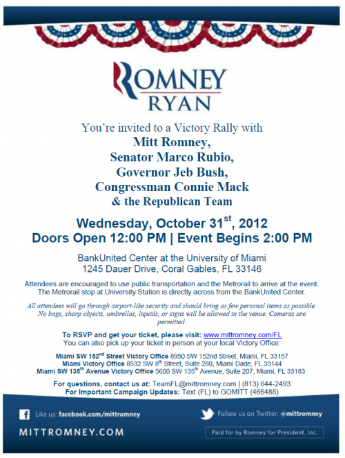 Romney with Rubio and Mack in Miami - October 31, 2012