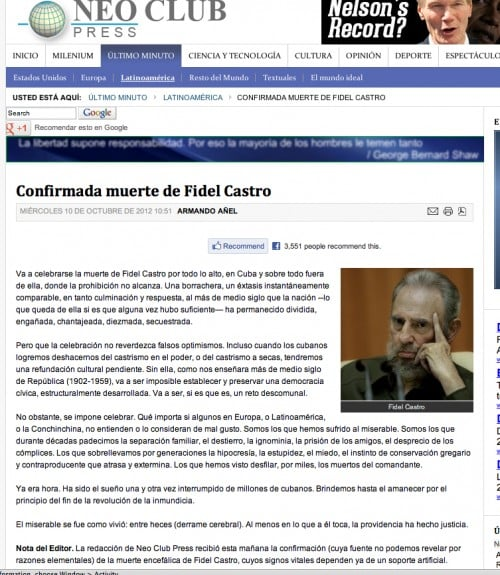 Castro Death Rumor 20121010