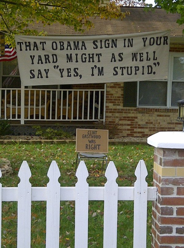 Two classic yard signs