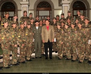 Hugo Chavez pays a visit to Venenozuelan cadets at Belorussian military academy