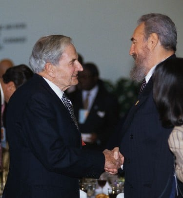 David Rockefeller and Fidel Castro Shaking Hands