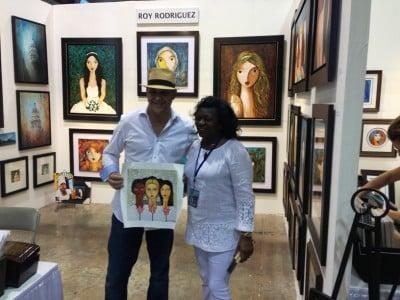 Berta Soler with artist Rolando Pulido