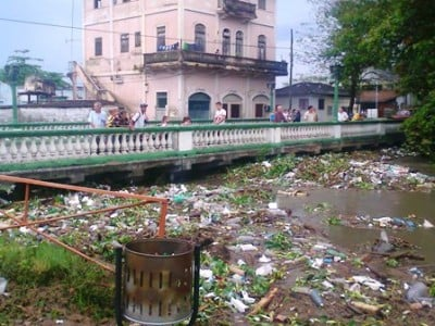 Polluted river in Santa Clara, Cuba