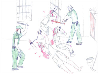 Torture in Castro's prisons, drawing by prisoner Ángel García Rivero