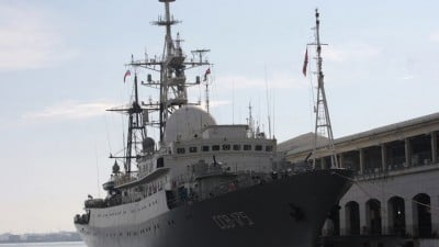 Russian spy ship Viktor Leonov SSV-175 docked in Havana Harbor,