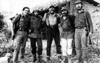 "From left to right: José Luis Merino (""Comandante Ramiro"") and fellow communist guerrillas in their jungle glory days."