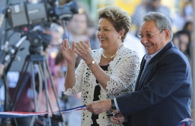 Raul Castro and Dilma Rouseff at the opening of the new Mariel port built by Odebrecht with Cuban slave labor