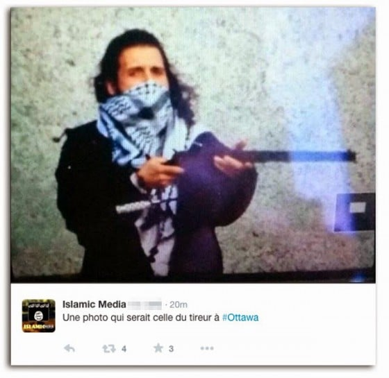 The murderer's photo posted on ISIS Twitter account
