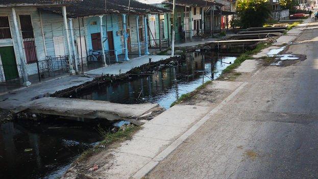 Open sewer in Batabano, Cuba