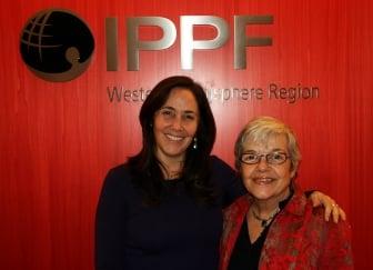 Planned Parenthood Regional Director Carmen Barroso with Cuba's Mariela Castro