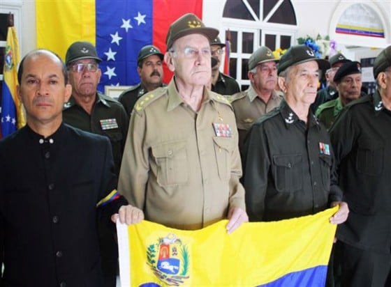 General Abelardo Colome Ibarra, and other senior Cuban military officials pose with their Venezuelan pupils