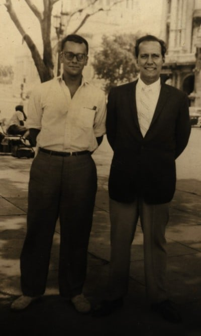 Dr. E.A. Rivero, at right, with his brother Adolfo in Havana, May 1960. (David Landau)