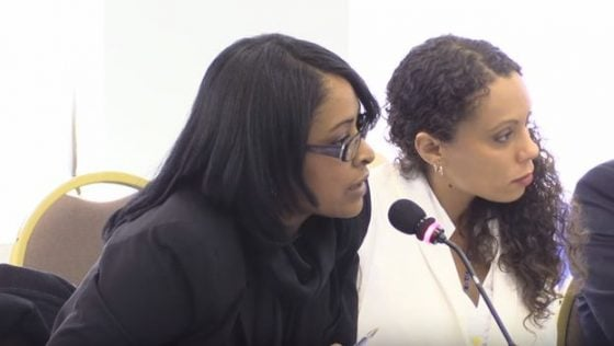 Attorney Laritza Diversent (left) with the activist Yalit Kirenia during a presentation at the Inter-American Commission on Human Rights.