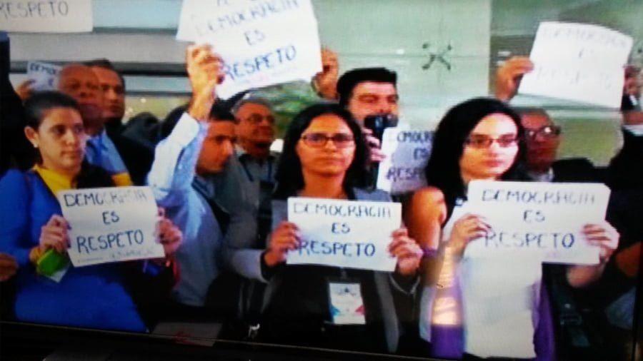 "Cuban human rights activists at the Americas Summit in Panama. ""Democracy is Respect"""