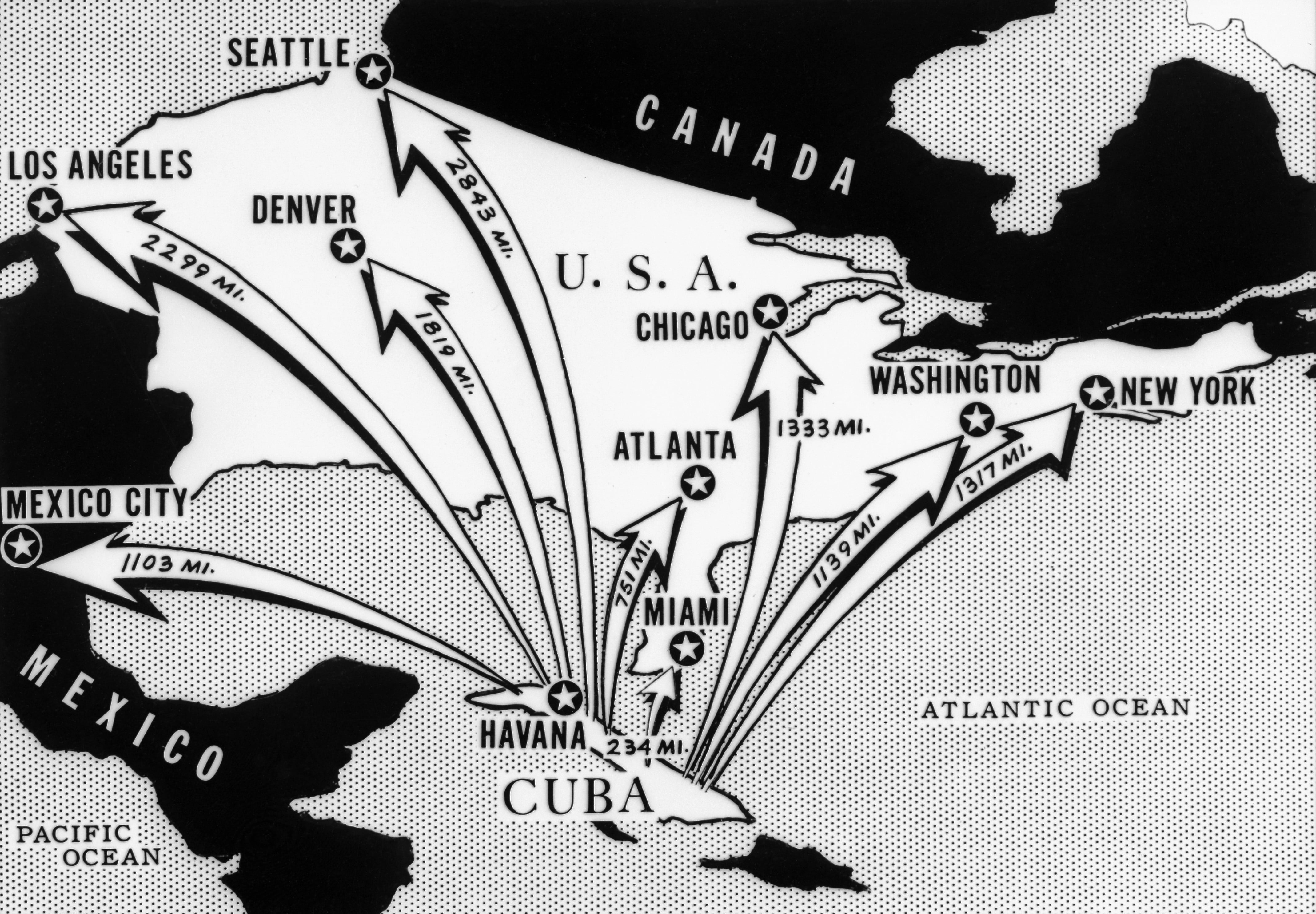 1962 --- This newspaper map from the time of the Cuban Missile Crisis shows the distances from Cuba of various cities on the North American Continent. --- Image by © Bettmann/CORBIS