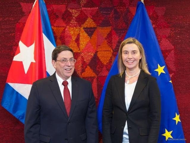 Federica Mogherini (EU) and Castronoid Bruno Rodriguez