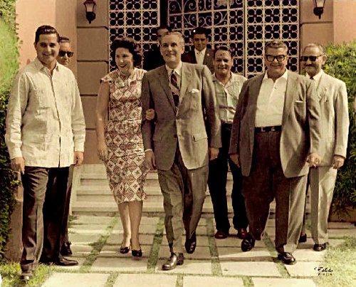(L to R) Rodolfo Laucirica; Jose Hernandez Cata; Uva Hernandez Cata de Márquez-Sterling; Carlos Márquez-Sterling; Patricio Estevez; Osvaldo Ruiz Aguilera. Nov 3, 1958