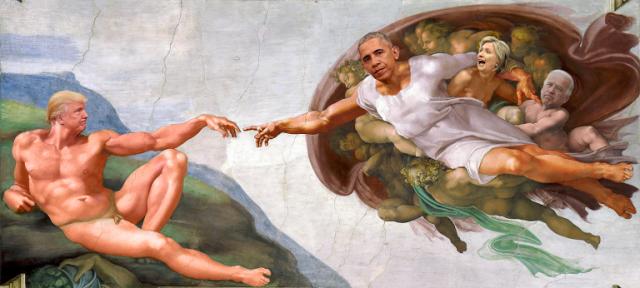 trump obama michelangelo