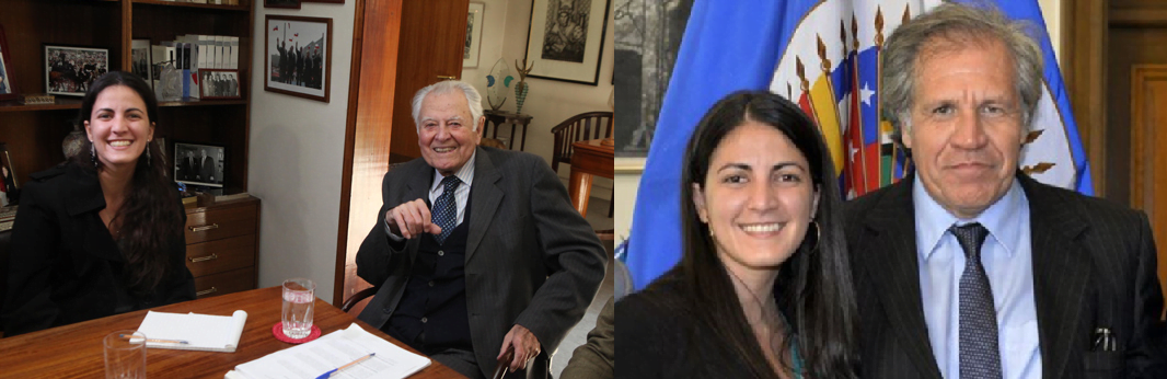 Rosa María Payá with President Patricio Aylwin and Secretary General Luis Almagro