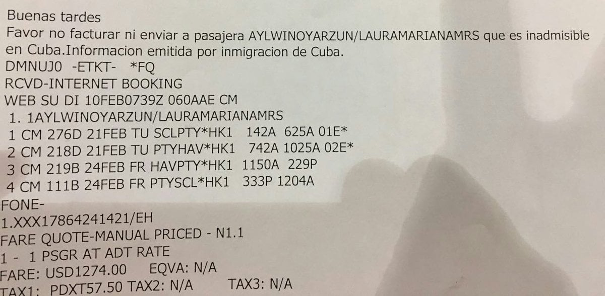 """Please don't invoice or send passenger who is inadmissible in Cuba. Information issued by Cuban immigration"""