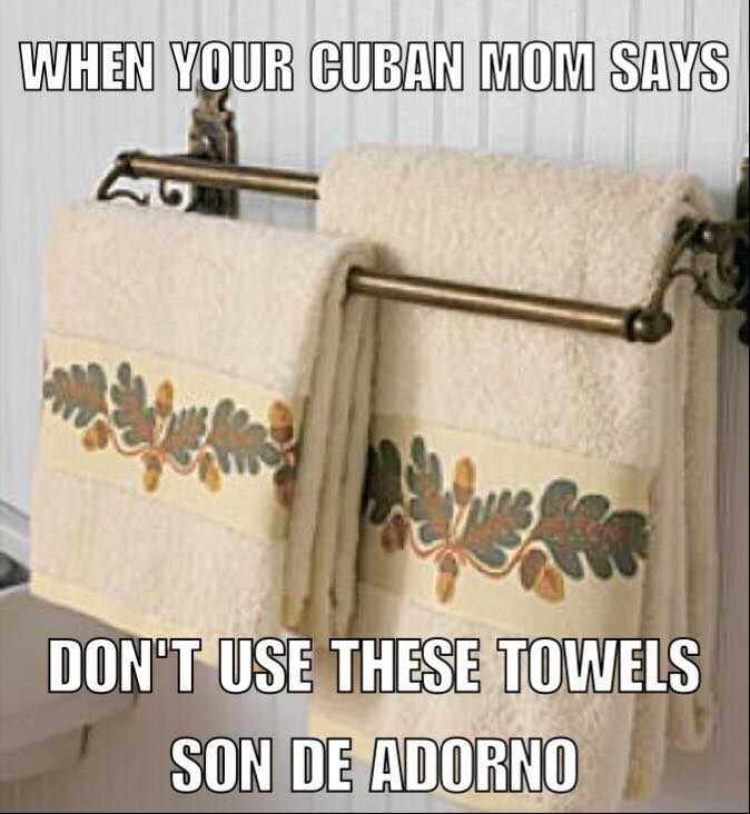 Decorative Towels In A Cuban Bathroom