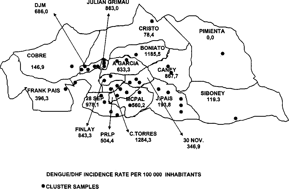 the castro regime s pyrrhic victory against the dengue epidemic in Cuba Postal map of santiago de cuba showing health areas and the distribution of clusters selected for the seroepidemiologic study