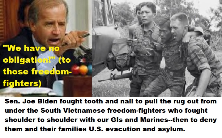 Move over JFK!–Joe Biden (as Senator) also stabbed anti-communist U.S.  allies in the back! (and perhaps harder and deeper than you did at the Bay  of Pigs!) Fortunately Biden wasn't then President! |